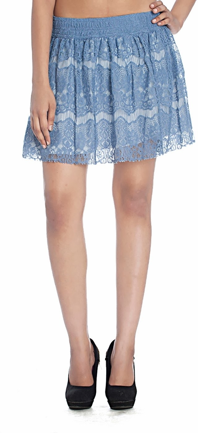 Free Soul Printed Womens A-line White, Blue Skirt