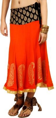 Ira Soleil Printed Women's Gold, Orange, Black Skirt