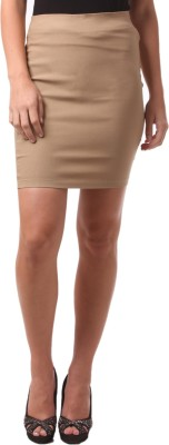 FashionExpo Solid Women's Straight Beige Skirt