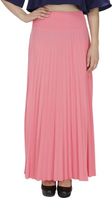 FASHMODE Solid Women's Pleated Pink Skirt
