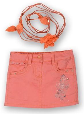 Lilliput Solid Girl's Regular Pink Skirt