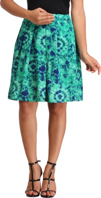Cottinfab Floral Print Women's Pleated Green Skirt at flipkart