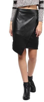 Martini Solid Women's Asymetric Black Skirt