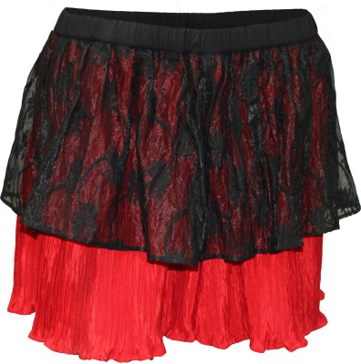 Attuendo Solid Women's Pleated Red, Black Skirt