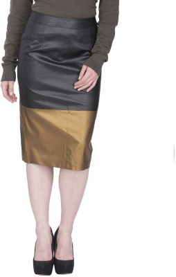 Famous by Payal Kapoor Solid Women's Pencil Black, Brown Skirt