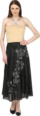 Sataro Self Design, Striped Women's Straight Black Skirt