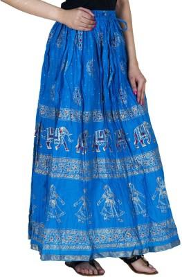 Ooltah Chashma Printed Women's Straight Blue Skirt