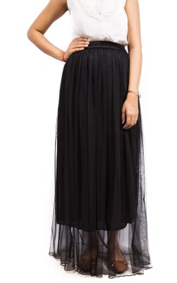 Fadjuice Solid Women's Gathered Black Skirt