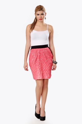 Glam & Luxe Printed Women's Pleated Pink Skirt