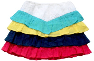 Young Birds Solid Girl's Layered Multicolor Skirt