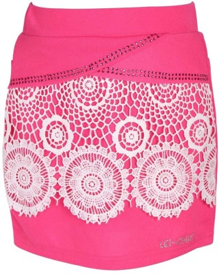 LEI CHIE Self Design Girl's A-line Pink Skirt