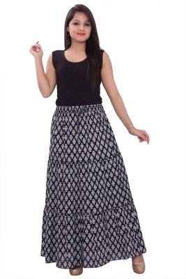 Razio Printed Women's Regular Black Skirt