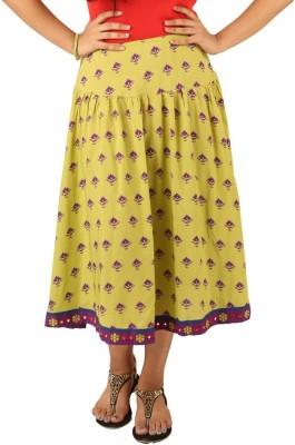 INDRICKA Printed Women's Straight Green Skirt