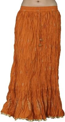 Chhipaprints Printed Women's Regular Orange Skirt