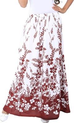 Liba Printed Women's Regular White Skirt