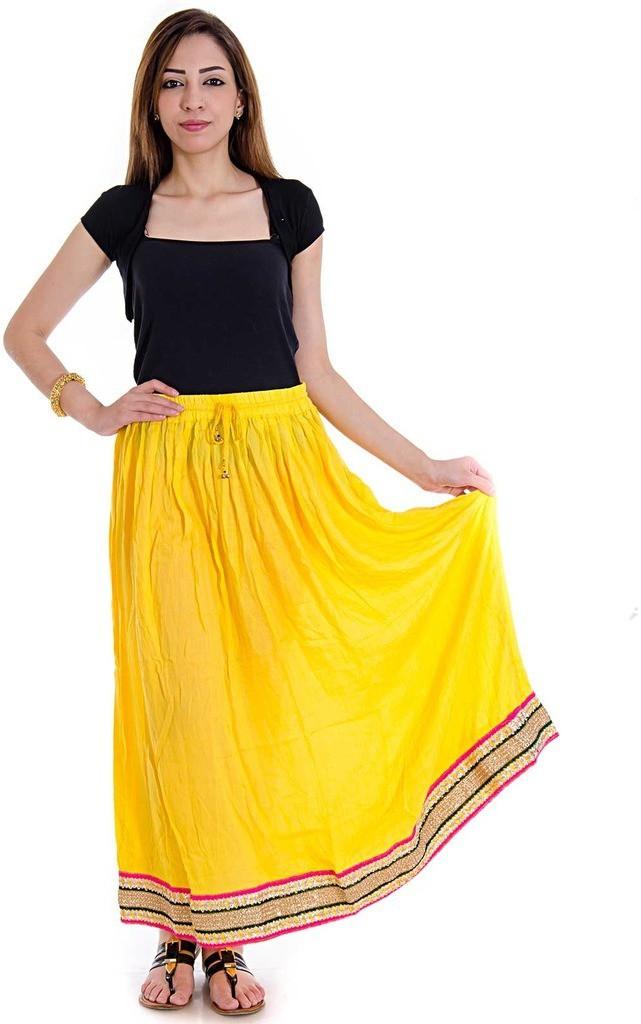 Halowishes Printed Girls Wrap Around Yellow Skirt