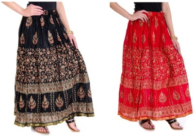 Ooltah Chashma Printed Women's Broomstick Red, Black Skirt