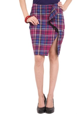 Ridress Checkered Women's Regular Multicolor Skirt