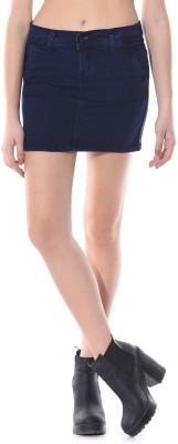 Vonvivo Solid Women's Regular Dark Blue Skirt