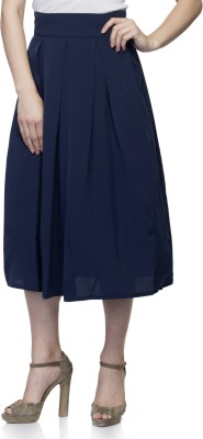 Tara Lifestyle Solid Women's Pleated Dark Blue Skirt