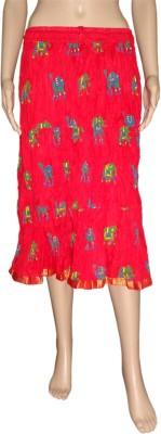 Pinkcityvilla Printed Women's Regular Red Skirt
