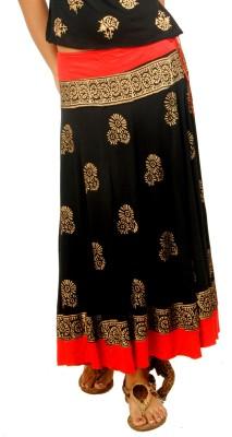 Ira Soleil Printed Women's Gold, Red, Black Skirt