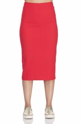 Femella Solid Women's Pencil Red Skirt