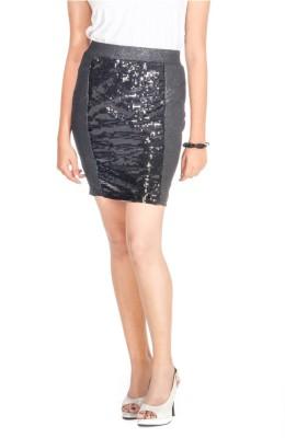 Young Trendz Embellished Women's Pencil Black Skirt