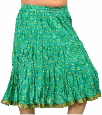 Jaipur Raga Printed Women's Regular Green Skirt