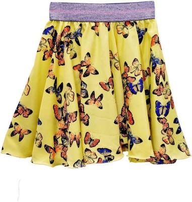 GraceDiva Printed Girl's Pleated Yellow Skirt