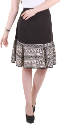 Hotberries Printed Women's Regular Black, White Skirt