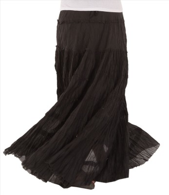 Skirts & Scarves Solid Women's Tiered Black Skirt