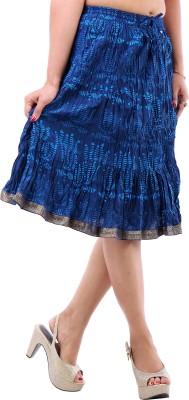 BigCart Printed Women's Straight Blue Skirt