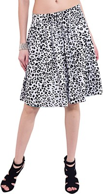 Saiarisha Animal Print Women's Pleated Black Skirt