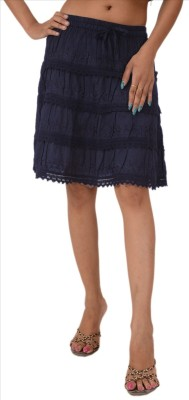Skirts & Scarves Embroidered Women's A-line Blue Skirt