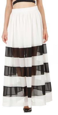 Fuziv Solid Women's Pleated White Skirt