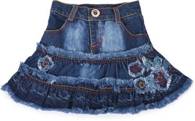 Tillu Pillu Solid Girl's Regular Blue Skirt