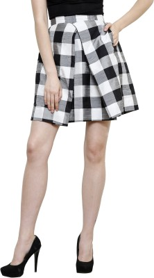 I Am For You Checkered Women's Pleated Black Skirt