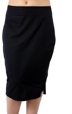 James Scot Solid Women's Pencil Black Skirt