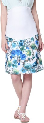 MamaCouture Printed Women's A-line Blue Skirt