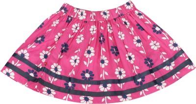 Nino Bambino Floral Print Girl's Gathered Pink Skirt