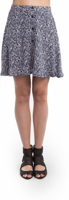 SbuyS Floral Print Women's Gathered Blue Skirt