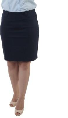 Lee Marc Solid Women's Straight Blue Skirt