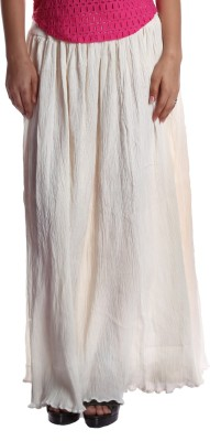Gwyn Lingerie Solid Women's Gathered White Skirt