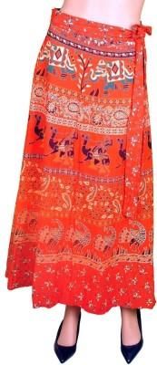 Craftghar Printed Women's Wrap Around Red, Blue, White Skirt