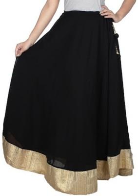 pinksisly Solid Women,s Regular Black Skirt