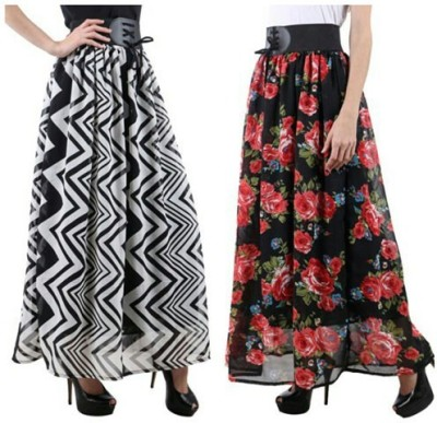 Raabta Fashion Self Design, Floral Print Womens, Girls A-line Black, White, Multicolor Skirt