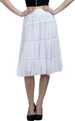 Peptrends Self Design Women's Gathered White Skirt