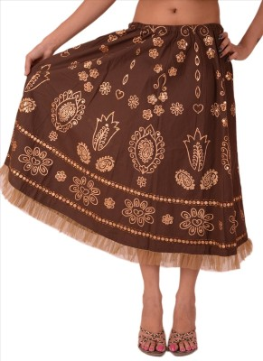 Skirts & Scarves Floral Print Women's A-line Brown Skirt