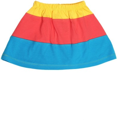 Dreamszone Solid Girl's Regular Yellow, Red, Blue Skirt